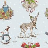 textur för hand för jul idérik tecknad seamless Royaltyfri Fotografi