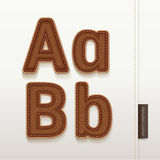 Textur för alfabetläderhud. Arkivfoton