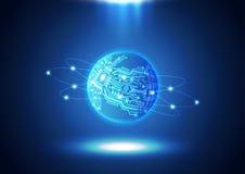 Textur för bakgrund för värld för teknologi för strömkretsbräde Arkivfoton