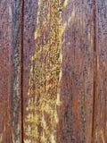 Textur-gammalt trämålat skyddande figurerat bräde för målarfärg brunt med flöden av wood bärnstensfärgad kåda Detalj av träplanko Royaltyfri Foto