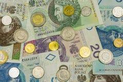 Textur med polska pengar Fotografering för Bildbyråer