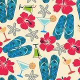 Textur med strandobjekt: hibiskus coctail, havsstjärna, flip royaltyfri illustrationer