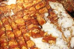 Textur och modell av grillat svinkött Svinhud som grillas på ett galler Bakad modell för bakgrund för svinkött carnivorous Jul fotografering för bildbyråer