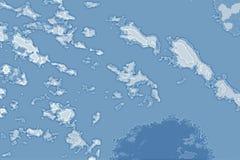 Textura abstracta blanca y azul del fondo Mapa de la fantasía con la línea de la playa del norte, mar, océano, hielo, montañas, n foto de archivo libre de regalías