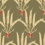 Textura abstracta con el trigo atado Modelo inconsútil con el ornamento festivo del ramo de la flor Foto de archivo libre de regalías