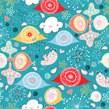 Textura abstracta con una lluvia alegre y pájaros Foto de archivo libre de regalías