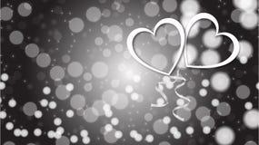 Textura abstracta hermosa de los corazones de plata blancos del amor que brillan en el día de tarjeta del día de San Valentín fel stock de ilustración