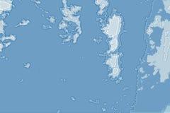 Textura abstrata branca e azul do fundo Mapa da fantasia com linha costeira norte, mar, oceano, gelo, montanhas, nuvens imagens de stock