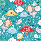 Textura abstrata com uma chuva alegre e os pássaros Foto de Stock Royalty Free