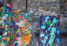 Textura abstrata da pintura de óleo Fundo colorido fotos de stock royalty free