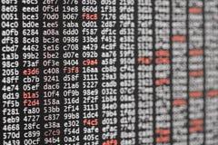 Textura abstrata do fundo do código com dígitos brancos e vermelhos imagem de stock royalty free