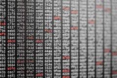 Textura abstrata do fundo do código com dígitos brancos e vermelhos imagem de stock