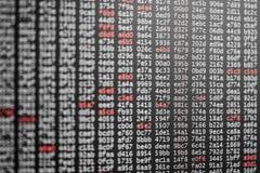 Textura abstrata do fundo do código com dígitos brancos e vermelhos foto de stock royalty free