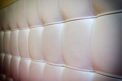 Textura adornada da cabeceira do couro branco para o fundo com Vigne Fotografia de Stock