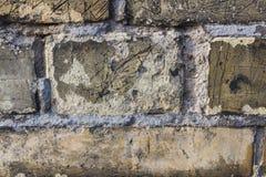 Textura amarela suja velha do close up da parede de tijolo Fotografia de Stock Royalty Free