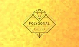 Textura amarilla de oro poligonal del fondo del extracto, haber texturizado amarillo de oro, fondos del polígono de la bandera, e ilustración del vector