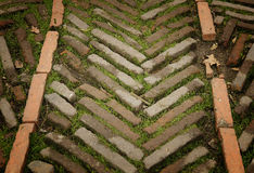 Textura antigua del suelo del ladrillo Imágenes de archivo libres de regalías