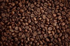 Textura asada de los granos de café Ciérrese encima de la visión, visión superior imagenes de archivo