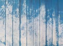 Textura azul de los tableros de madera ásperos de la cerca Imágenes de archivo libres de regalías