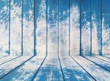 Textura azul de los tableros de madera ásperos de la cerca Imagen de archivo