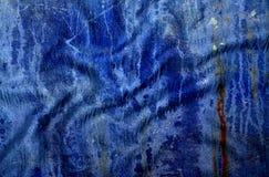 Textura azul manchada Grunge de pano Fotos de Stock