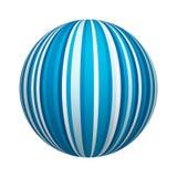 Textura azul y blanca del modelo rayado en la forma de la bola o de la esfera aislada en el fondo blanco Diseño ascendente de la  libre illustration