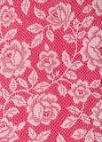 Textura blanca de las rosas del cordón en rojo Fotografía de archivo libre de regalías