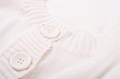 Textura blanca hecha punto del jersey Fotografía de archivo