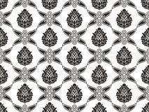 Textura blanco y negro floral del damasco inconsútil Imagen de archivo