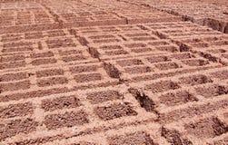Textura - bloques de cemento - rojo anaranjado Fotografía de archivo libre de regalías