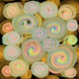 Textura borrosa de espirales transparentes o de c?rculos amarillos, rosados en un contexto oscuro ilustración del vector