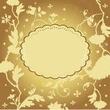 Tarjeta floral de oro Fotografía de archivo libre de regalías