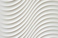 A textura branca da parede, teste padrão abstrato, acena o fundo moderno, geométrico ondulado da camada da sobreposição Fotografia de Stock Royalty Free