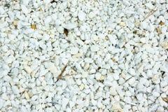 Textura branca da pedra do seixo na terra Fotografia de Stock Royalty Free