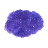 Textura cósmica púrpura dibujada mano de la acuarela con las estrellas Foto de archivo libre de regalías