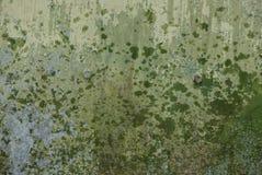 Textura cinzenta verde do metal da parede suja e molhada do ferro imagens de stock royalty free