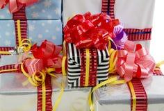 Textura coloreada de los rectángulos de regalos de la Navidad Fotografía de archivo libre de regalías