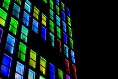 Textura colorida das janelas Fundo da luz de néon Fotografia de Stock