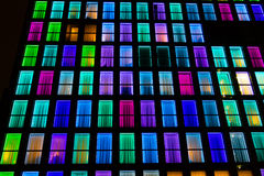 Textura colorida das janelas Fundo da luz de néon Fotos de Stock