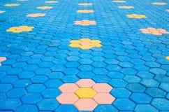 Textura colorida de la teja de la decoración del ladrillo del piso Foto de archivo