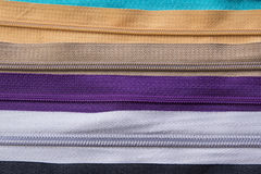 Textura colorida de las cremalleras para el fondo Fotografía de archivo libre de regalías