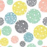 Textura colorida en colores pastel de los árboles de la primavera de Dots Seamless Pattern Background With de los círculos del ve Fotografía de archivo