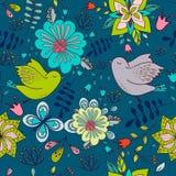 Textura colorida sem emenda com elementos e os pássaros florais brilhantes Foto de Stock Royalty Free