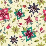 Textura colorida sem emenda com elementos florais brilhantes Imagem de Stock Royalty Free