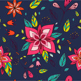Textura colorida sem emenda com elementos florais brilhantes Foto de Stock Royalty Free