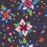 Textura colorida sem emenda com elementos florais brilhantes Imagens de Stock