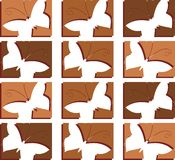 Textura com as borboletas estilizados coloridas no verde Imagens de Stock Royalty Free
