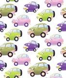 Textura con el coche lindo de la historieta con las linternas en un estilo de la historieta Foto de archivo libre de regalías