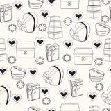 Textura con las cajas de regalo dibujadas mano Foto de archivo libre de regalías