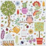 Textura con las flores, el árbol frutal, el árbol floreciente, el búho y los insectos libre illustration